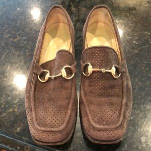 Gucci brown perforated suede bit loader sz 7